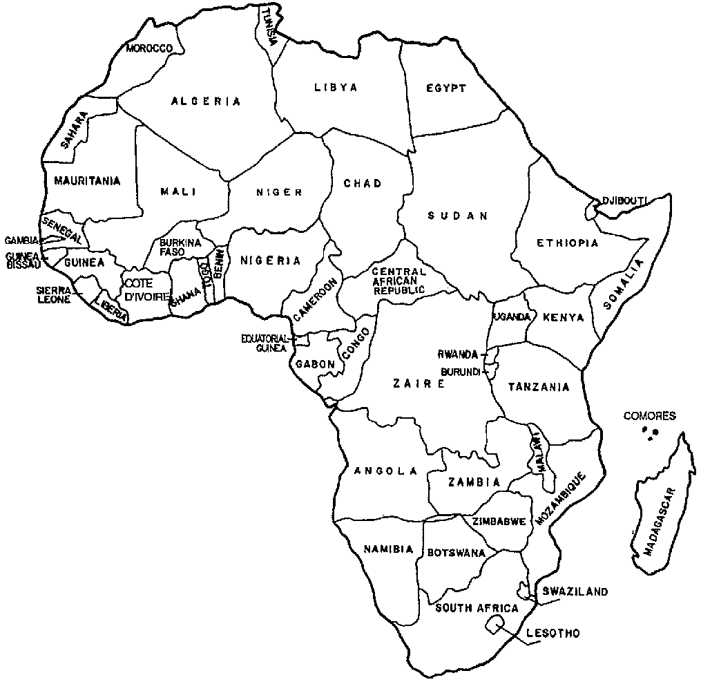 Just Africa White Map Southern And Black Country Names