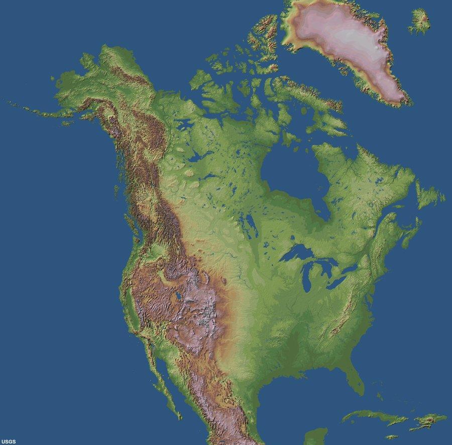 North America Topographic Map Contour