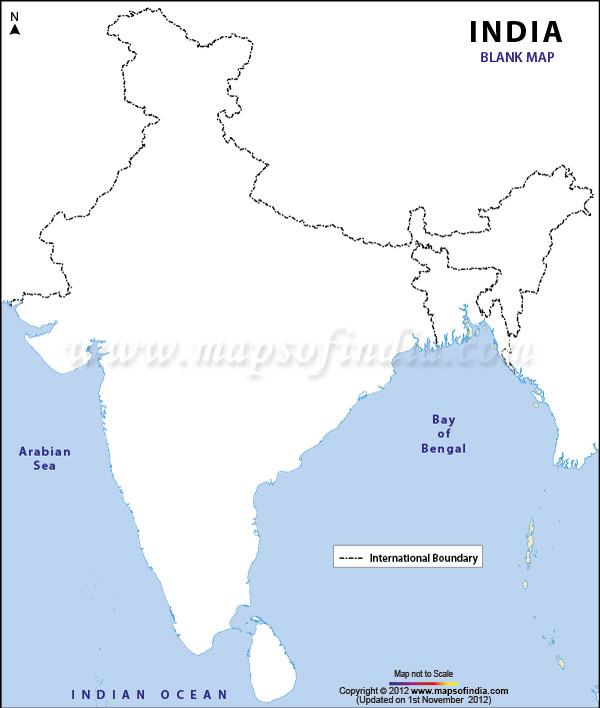 India Map Geography Political Blank