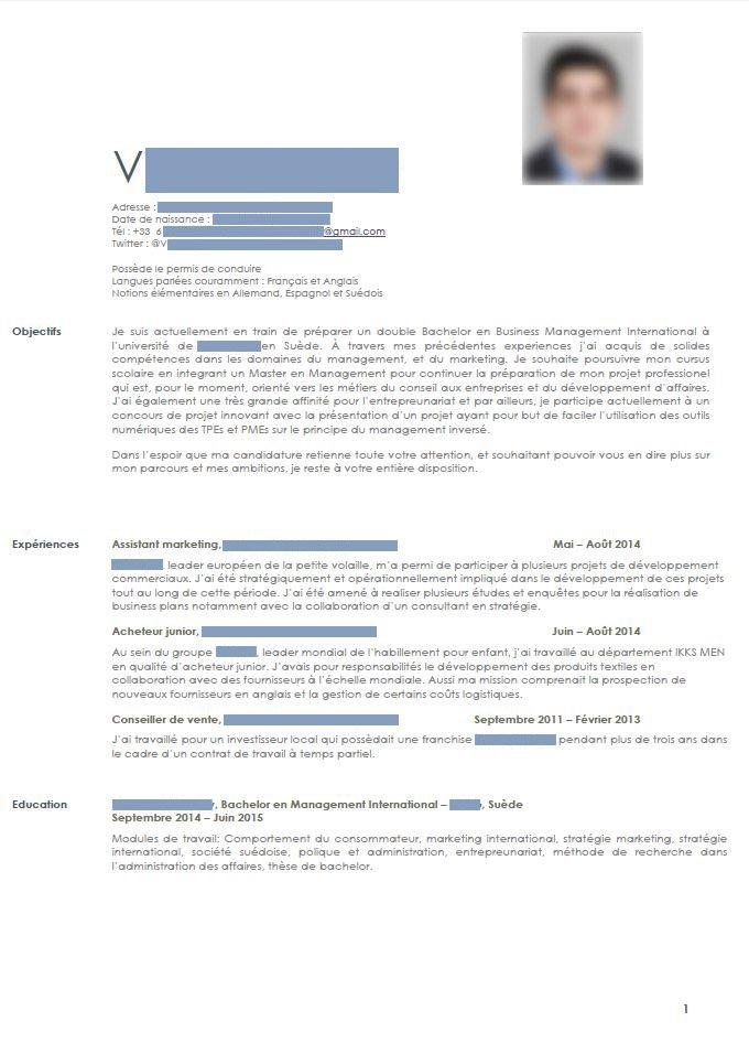 Correction De Cv Candidat En Master De Management Le Figaro Etudiant