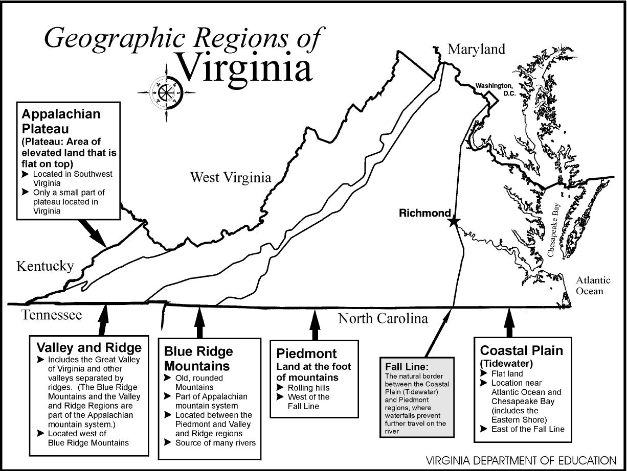 Geographic Regions Of Virginia Map.Map Regions Va Geographic