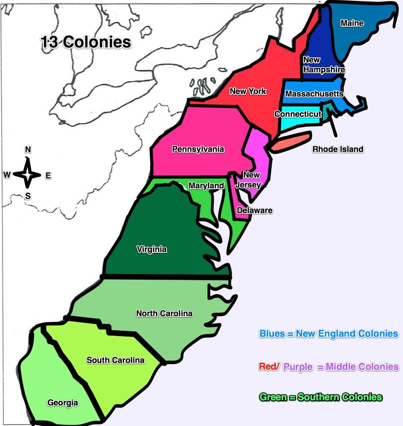 Map Original 13 Colonies And Capitals