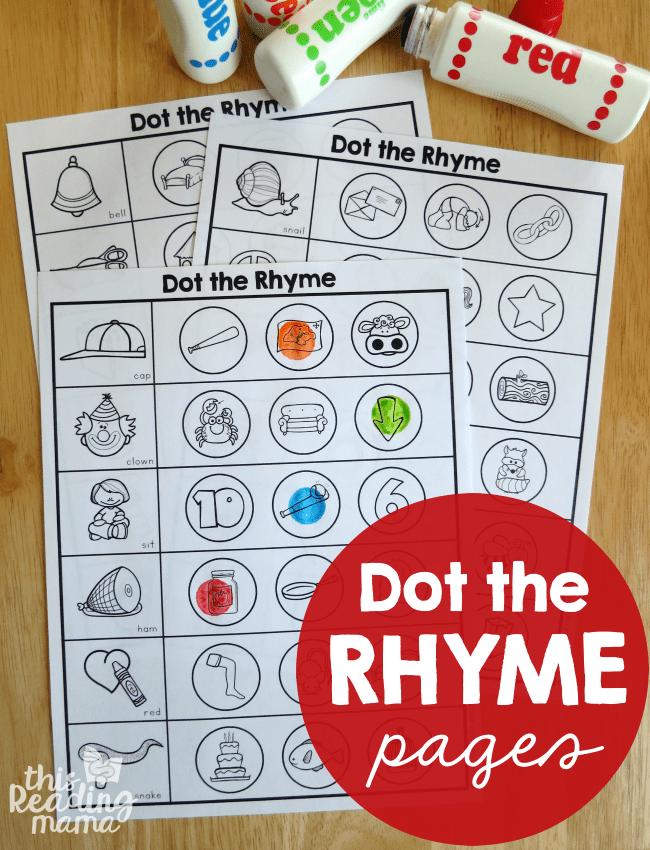 Rhyming Worksheets Dot The Rhyme This Reading Mama