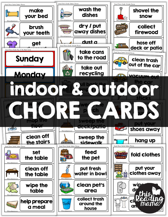 Indoor Outdoor Visual Chore Cards For Kids This Reading Mama