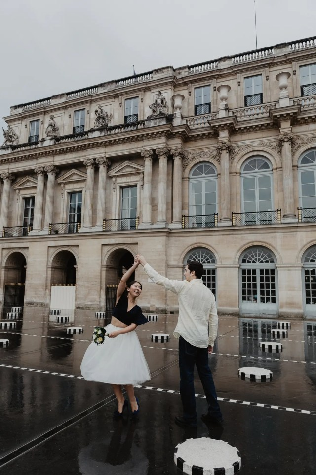 Couple Dancing Rain Palais Royal Paris