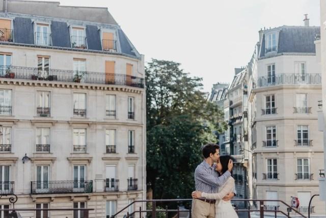 Couple in Parisian street - Kiss on the forehead