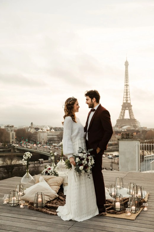 wedding Paris rooftop elopement photography