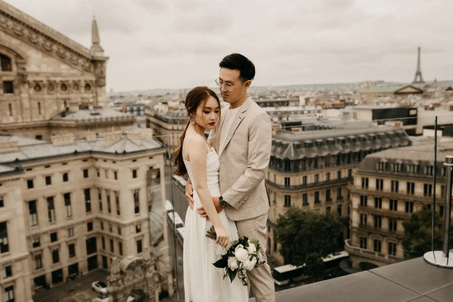 Paris rooftop couple engagement photography