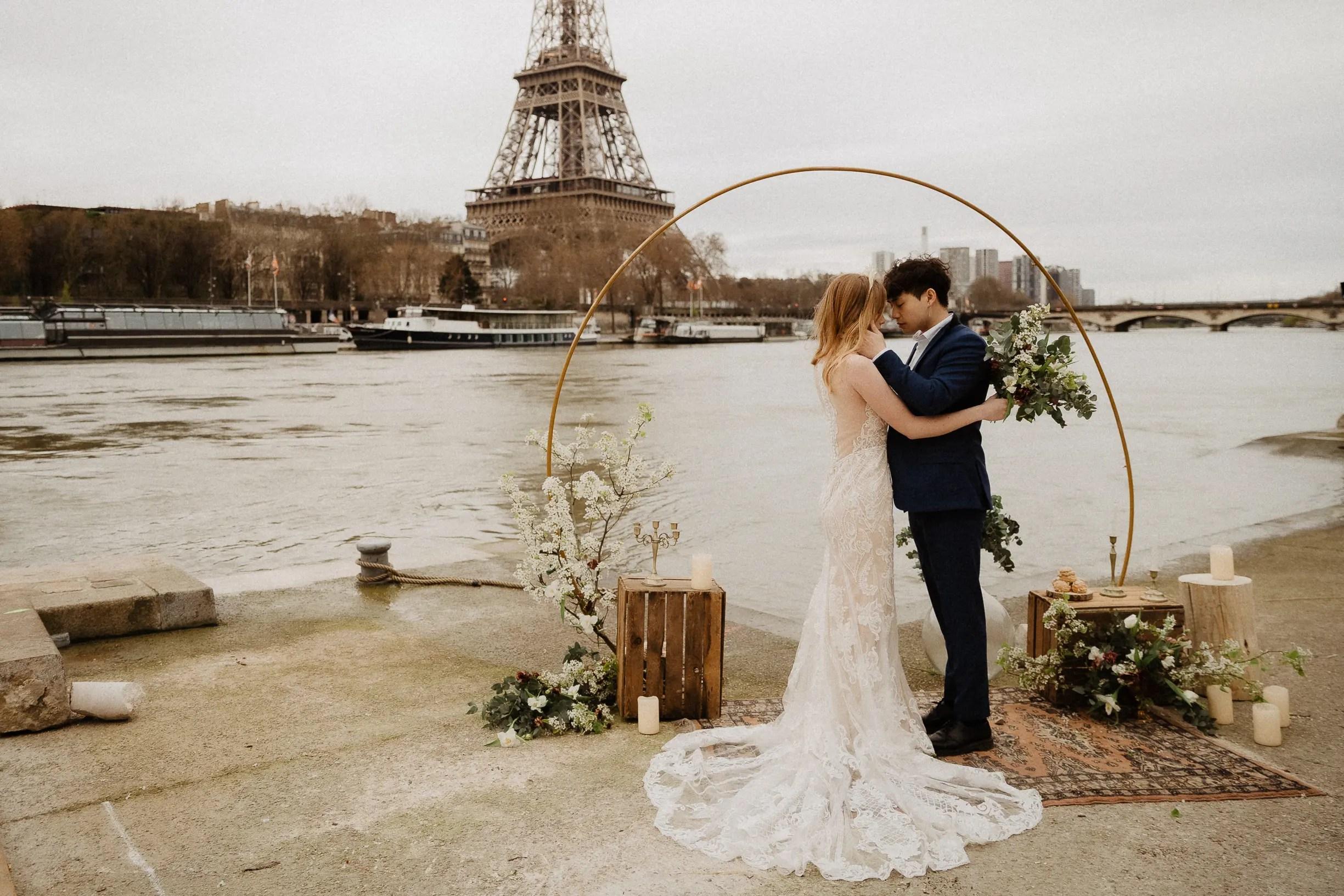 french asian intimate ceremony autumn elopement wedding paris photographer