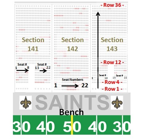 Superdome seating chart seat numbers for Mercedes benz service charges