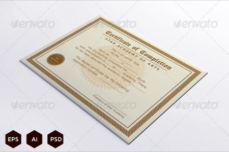 20  Completion Certificate Template Free Download Download Course Completion Certificate Template Photoshop PSD Format