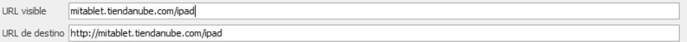 URL de Destino en el Anuncio de Mercado Clics