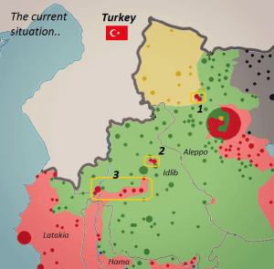 Hatay province, adjacent to Aleppo, Idlib and northern Latakia