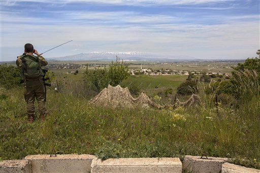 An Israeli soldier looks through binoculars at a Syrian village from an army post on the border between Israel and Syrian on the Golan Heights (photo credit: AP Photo/Sebastian Scheiner)