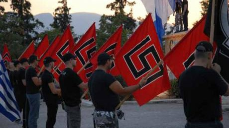 Supporters of the Golden Dawn party in Greece (photo credit: @johanknorberg via Twitter/File)