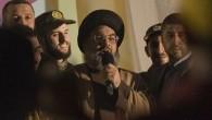 Le chef du Hezbollah Hassan Nasrallah, au centre, s'adresse à la foule, le 16 juillet 2008 (Crédit :  Flash90/Ferran Queved)