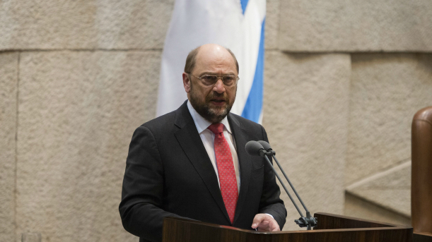 President of the European Parliament Martin Schulz adressess the Israeli parliament in Jerusalem on February 12, 2014.  (photo credit: Flash 90)