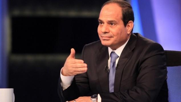 Abdel Fattah al-Sissi lors de sa première interview télévisée en tant que président (Crédit : AFP/STR)