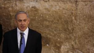 Benjamin Netanyahu au mur Occidental - 18 mars 2015 (Crédit : Flash 90)