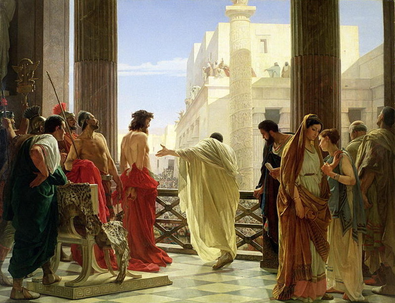 Pilate presents Jesus, as depicted in Ecce Home (Behold the man) by Antonio Ciseri, 1871