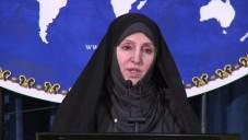 Marzieh Afkham en conférence de presse en 2013 (Crédit : Capture d'écran YouTube)