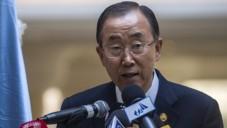 Le secrétaire général de l'ONU Ban Ki-moon lors d'une conférence de presse à la conférence des donateurs de Gaza au Caire, en Egypte, le 12 cctobre 2014 (Crédit photo: AFP / Khaled Desouki)