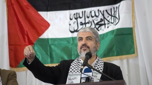 Le chef politique du Hamas, Khaled Meshaal, lors d'un rassemblement du Congrès national africain en l'honneur du Hamas au Cap, en Afrique du Sud, le 21 octobre 2015 (Crédit photo:  Rodger Bosch/ AFP)