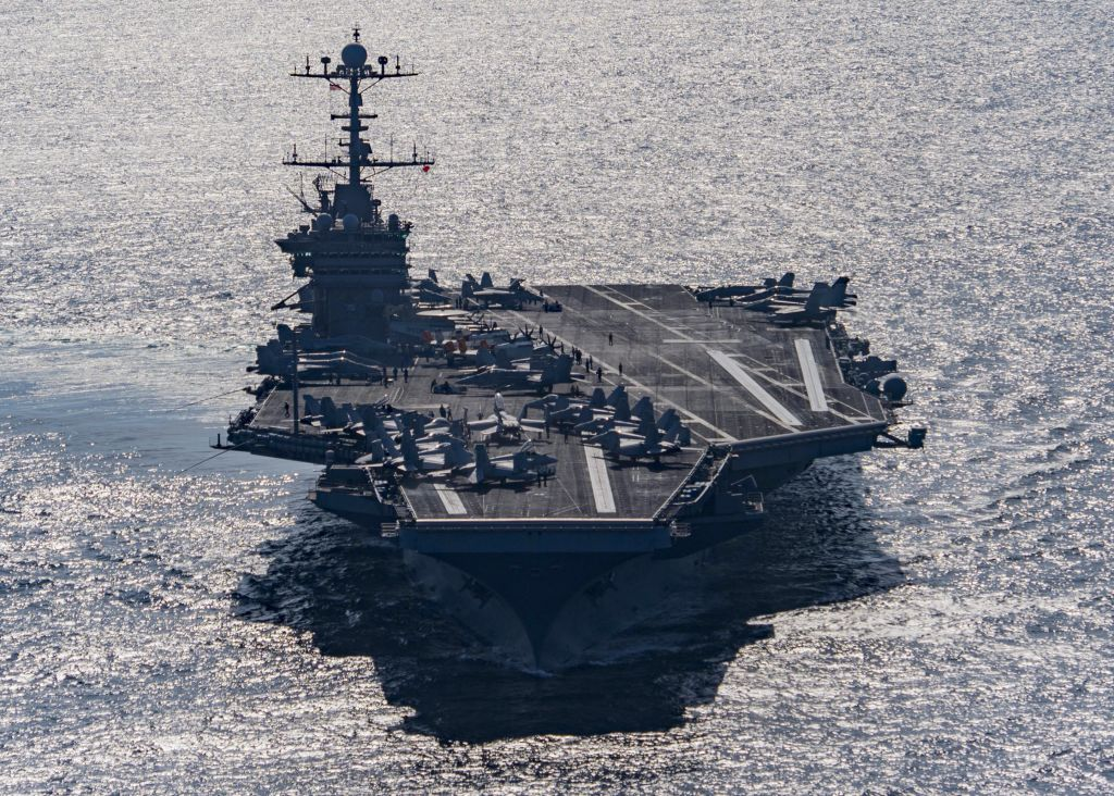 In this Friday, Dec. 25, 2015 photo released by the US Navy, the aircraft carrier USS Harry S. Truman navigates the Gulf of Oman. (Mass Communication Specialist 3rd Class J. M. Tolbert/ US Navy via AP)