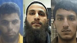 Les suspects accusés d'appartenir à une cellule terroriste de l'Etat islamique en Cisjordanie: Ahmad Shehadah (à gauche), Qusai Maswadeh (centre) et Muhammad Zerrie (à droite), en janvier 2016 (Crédit : Shin Bet)