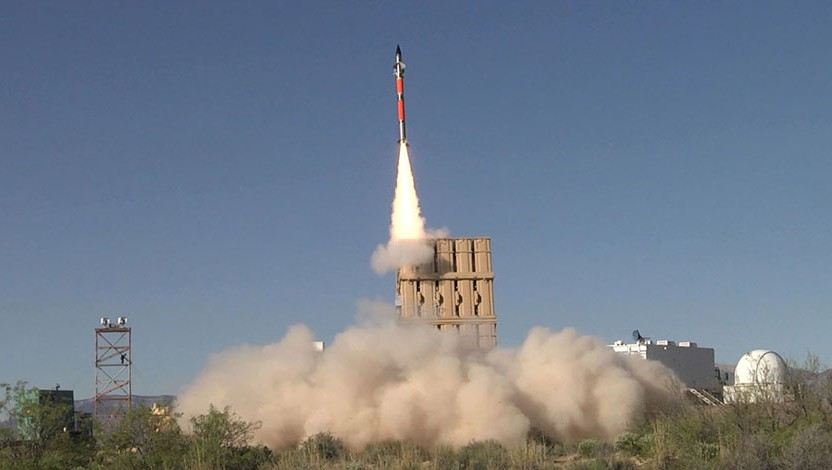 A Tamir missile fired from an Iron Dome missile defense battery during a trial in the United States in April 2016. (Rafael Advanced Defense Systems)