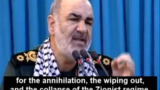 Le commandant adjoint des Gardes révolutionnaires iraniens Hossein Salami donne un discours sur la destruction d'Israël, le 1er juillet 2016. (Crédit : capture d'écran MEMRI)