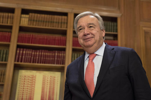 Then-UN High Commissioner for Refugees Antonio Guterres arrives for a meeting with Prime Minister Alexis Tsipras in Athens on a three-day official visit, October 12, 2015. (AP Photo/Petros Giannakouris)