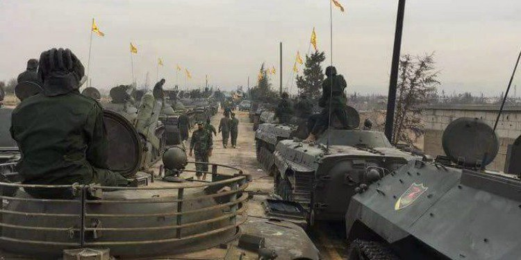 Hezbollah parading its military equipment in Qusayr, Syria, November 2016. (Twitter)