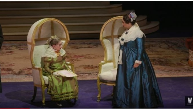 US Supreme Court Justice Ruth Bader Ginsburg (L) performs in the Washington National Opera in 'The Daughter of the Regiment' on November 12, 2016. (screen capture: YouTube)