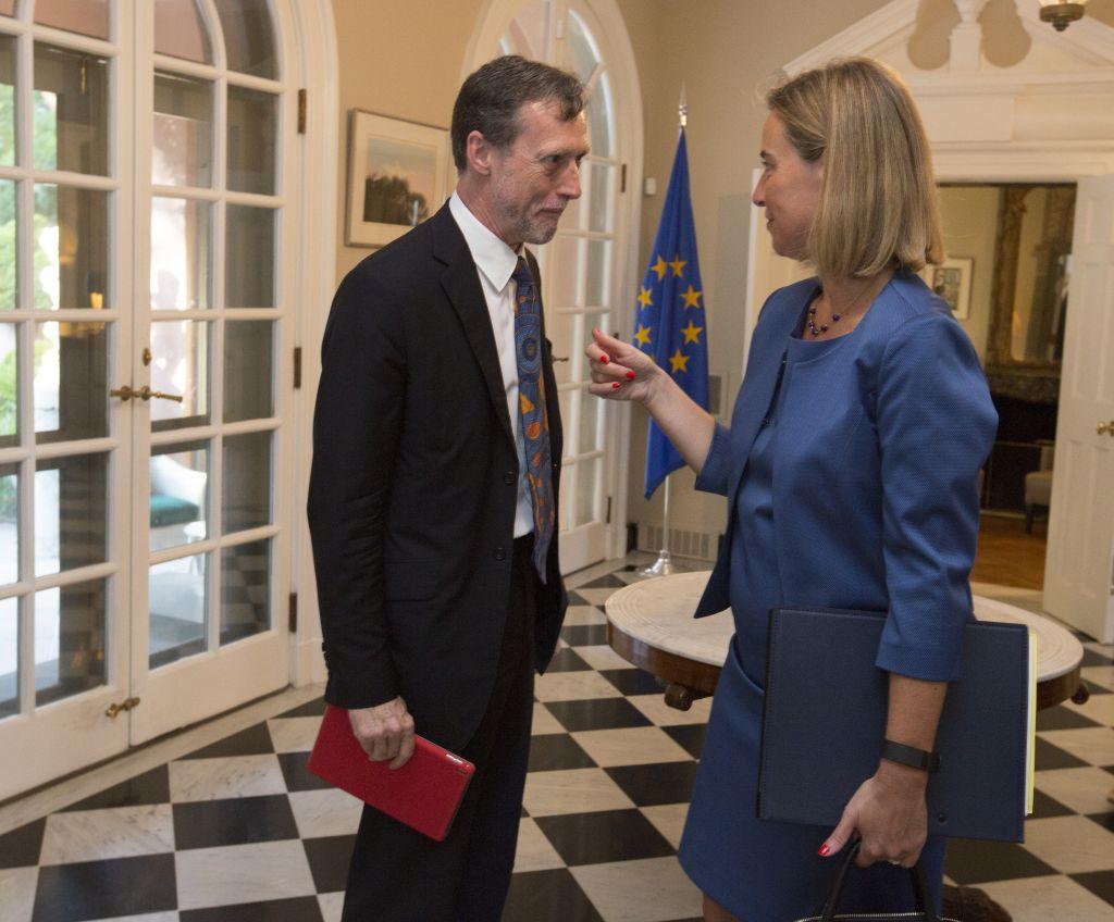 EU officials Nicholas Westcott, left, and Federica Mogherini (Chris Kleponis/EEAS)