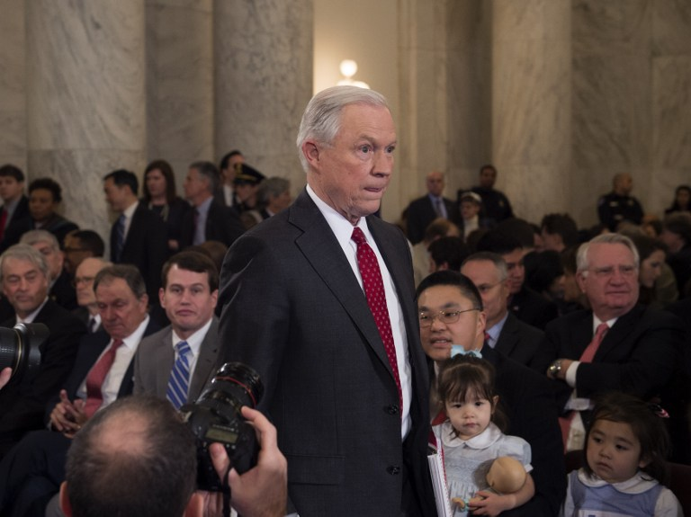 Sen. Jeff Sessions arrives to testify at his confirmation hearing to be attorney general of the US before the Senate Judiciary Committee on January 10, 2017, in Washington, DC. (AFP/Molly Riley)