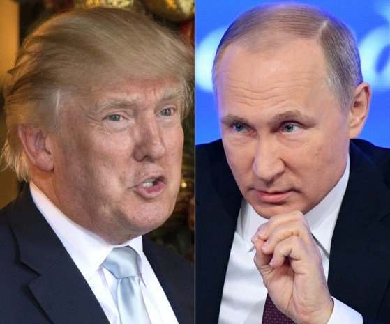 This combination of pictures created on December 30, 2016 shows a file photo taken on December 28, 2016 of US President-elect Donald Trump (L) in Palm Beach, Florida and a file photo taken on December 23, 2016 of Russian President Vladimir Putin speaking in Moscow. (AFP PHOTO / DON EMMERT AND Natalia KOLESNIKOVA)