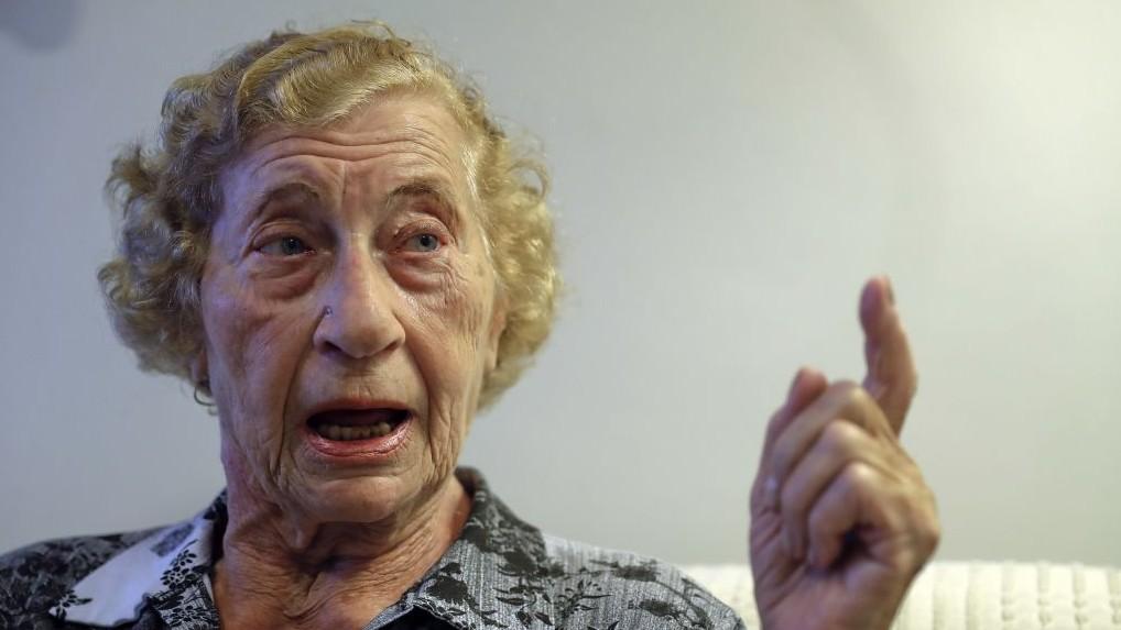 In this Dec.19, 2016 photo, Auschwitz survivor Cyrla Gewertz speaks during a interview in Sao Paulo, Brazil. (AP Photo/Andre Penner)