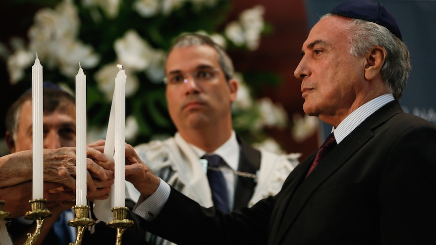 Brazilian President Michel Temer attending an International Holocaust Remembrance Day service at Congregacao Israelita Paulista synagogue in Sao Paulo, January 27, 2017. (Beto Barata/PR via JTA)