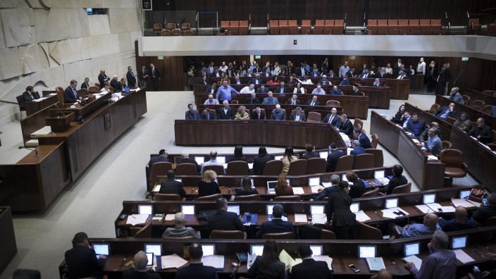 The Knesset plenum during the vote on the Settlements Bill