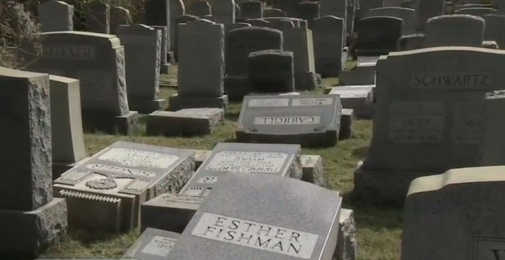 Damaged headstone at a Jewish cemetery in Philadelphia on February 26, 2017. (screen capture: 6ABC)