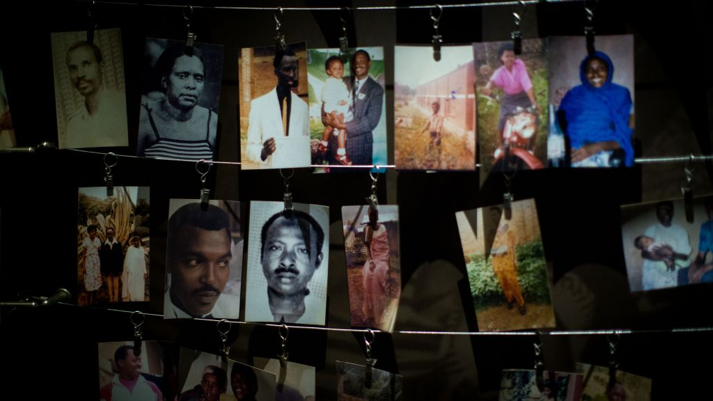 The Kigali Genocide Museum hosts a room similar to the Hall of Names in Yad Vashem, but encourages families to hang their own pictures of victims, shown here on February 14, 2017. (Miriam Alster/Flash90)