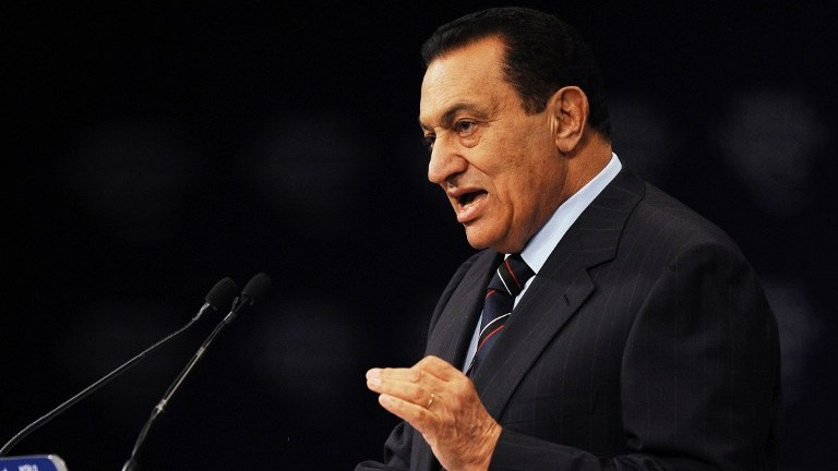 This file photo taken on May 18, 2008 shows then Egyptian President Hosni Mubarak speaking during an address to the World Economic Forum on the Middle East at the Sharm el-Sheikh International Congress Center. (AFP Photo/Mandel Ngan)