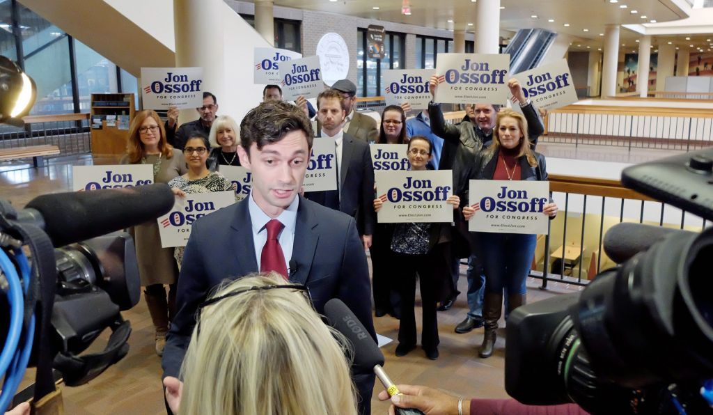 Image result for photos of jon ossoff and karen handel