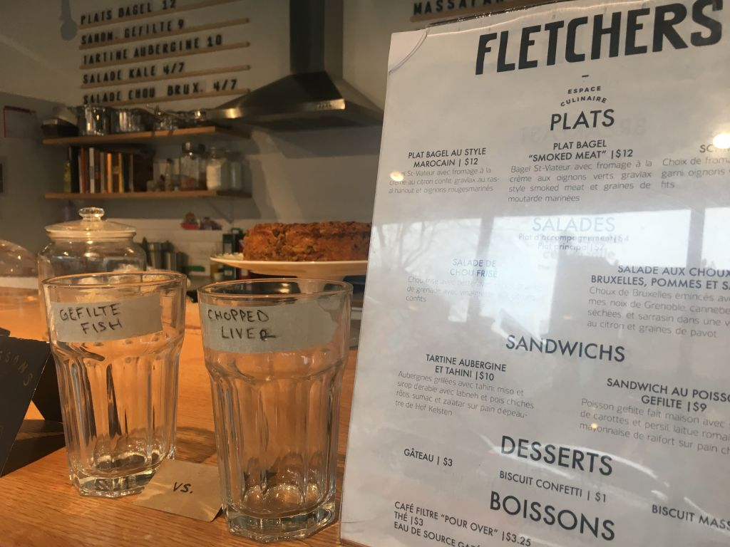 The menu at Fletcher's, the Jewish fusion cafe inside the Museum of Jewish Montreal. (Julie Masis/Times of Israel)