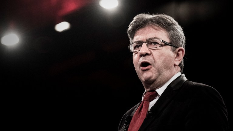 Jean-Luc Melenchon delivers a speech during the official presentation of his party's candidates in Villejuif, France, on May 13, 2017. (AFP Photo/Philippe Lopez)