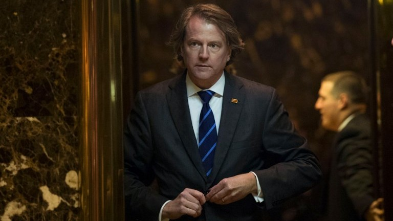 This file photo taken on November 15, 2016 shows Don McGahn, then general counsel for US President-elect Donald Trump's transition team,in the lobby at Trump Tower in New York City. (AFP Photo/Getty Images North America/Drew Angerer)