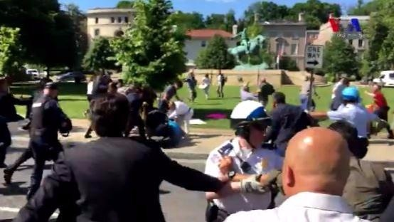 Footage said to be of scuffles outside the Turkish Embassy in DC, May 16, 2017. (Twitter screen capture)