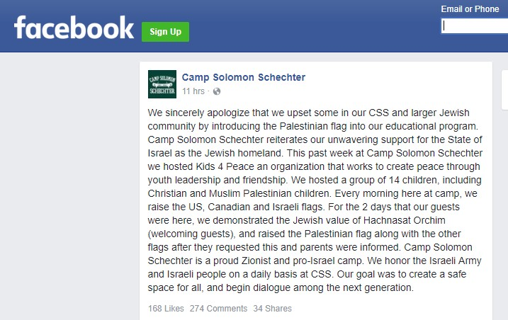 The text of the letter as it appeared on the camp's Facebook page, which is now not available