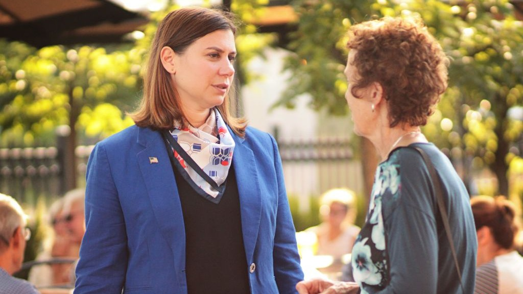 Elissa Slotkin campaigning recently in Michigan's 8th Congressional district. (Courtesy of Slotkin via JTA)